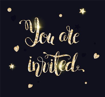 You are invited gold glittering lettering design with hearts and stars pattern on black background.