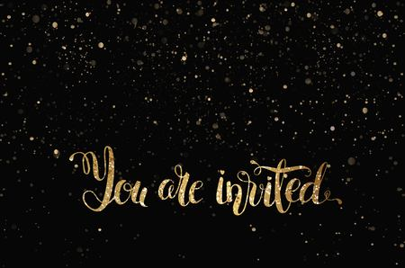 You are invited gold glittering lettering design with  stars pattern on black background. Vector illustration