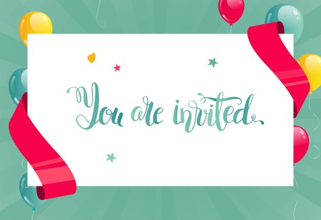 Invitation card. Banner with balloons, ribbons and  paper sheet. You are invited script. Vector illustration Illustration