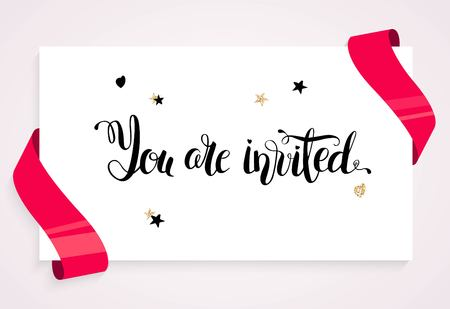 You are invitrd invitation card. Banner with balloons, ribbons and  paper sheet. You are invited script. Vector illustration