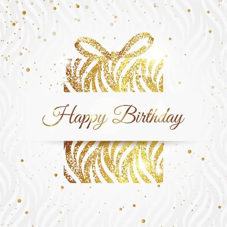 Happy birthday elegant card with golden gift and  bow. Birthday gold greeting card. Vector illustration Çizim