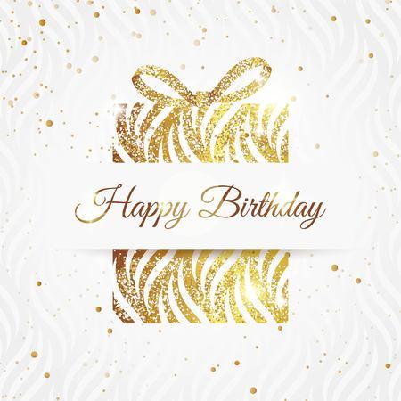 Wszystkiego najlepszego z okazji urodzin elegancka karta ze złotym prezentem i kokardą. Urodziny złote karty z pozdrowieniami. Ilustracji wektorowych
