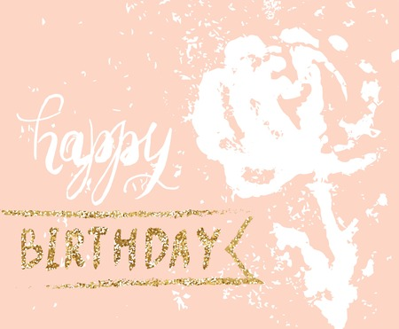 ribbon: Hand drawn happy birthday card with flower and gold glitter. Vector illustration Illustration