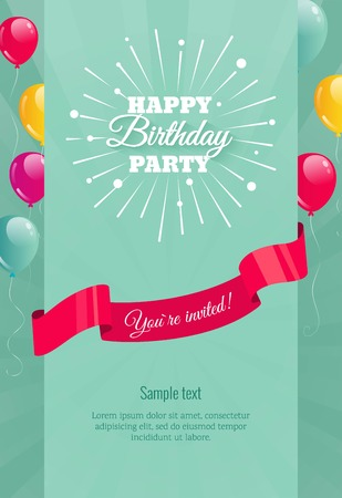Happy birthday party with firework and balloons. Birthday background with flying balloons and copyspace. Vector illustration flay style Stock Illustratie