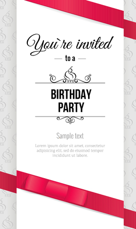 Happy birthday elegant invitation card with red bow and ribbons. Birthday  greeting card. Vector illustration 向量圖像