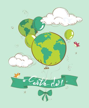 22 april Earth day. Eco friendly ecology concept with hand drawn planet and balloons on the sky background. Vector illustration