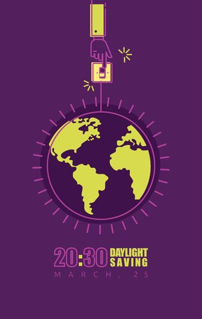 Earth hour poster with hand turning off the light and planet. Vector illustration