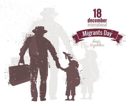 International Migrants Day  flyer, banner or poster. Silhouette of a man holding his sun hand and suitcase.  Vector illustration Vettoriali