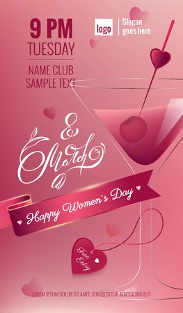 8 march international women`s day Cocktail Party Flyer with blurred background and martini cocktail.Vector illustration