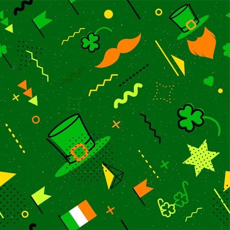 ireland flag: Saint Patrick`s day abstract background in 80s memphis style. Seamless memphis pattern for posers and cards. Hipster poster, juicy, bright color background. Vector illustration Illustration