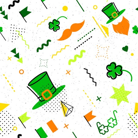 Saint Patrick`s day abstract background in 80s memphis style. Seamless memphis pattern for posers and cards. Hipster poster, juicy, bright color background. Vector illustration Illustration