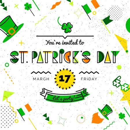 Saint Patrick`s day abstract background in 80s memphis style. Hipster poster, juicy, bright color background. Vector illustration
