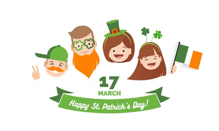 Saint Patrick`s day banner. Happy family with  different holiday symbols celebrating St. Patricks Day, smiling. Holiday and celebration concept. Vector illustration