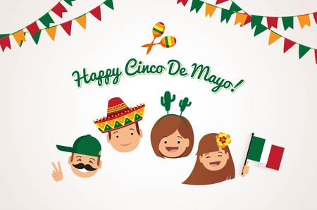 Cinco de Mayo background. Happy family with  different holiday symbols celebrating Cinco de Mayo day, smiling. Holiday and celebration concept. Vector illustration