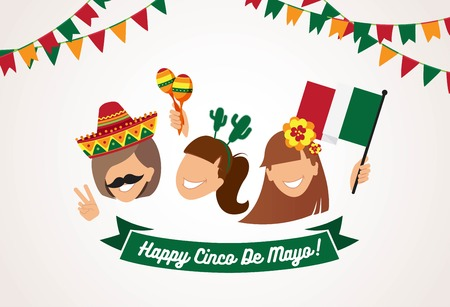Cinco de Mayo background. Group of happy girls with  different holiday symbols celebrating Cinco de Mayo, smiling. Holiday and celebration concept. Vector illustration Illustration