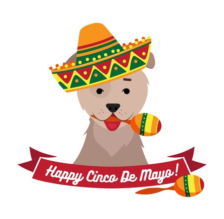 Dog in sambrero holding maracas with mouth. Cinco de Mayo day funny background. Vector flat illustration Illustration