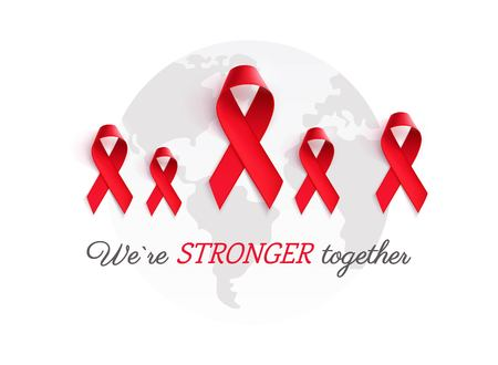 Aids Awareness Red Ribbon Background. We are stronger together slogan. Vector illustration