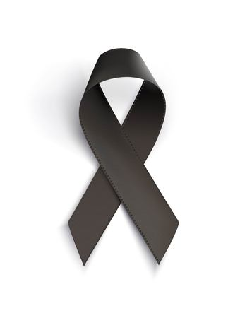 Realistic black awareness ribbon, isolated on white.  Mourning and melanoma sign. Vector illustration
