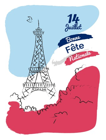 14 july Happy Bastille Day flyer, banner or poster. Holiday background with eiffel tower sketch and french flag background. Vector hand drawn illustration Vectores
