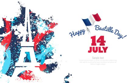 14 July Bastille day flyer, banner or poster. Colorful french map with paintink splatters, silhouette of eiffel tower and waving french flag. Holiday and celebration concept. Vector illustration