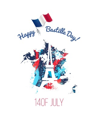 14 July Bastille day flyer, banner or poster. Colorful french map with paint  ink splatters, silhouette of eiffel tower and waving french flag. Holiday and celebration concept. Vector illustration