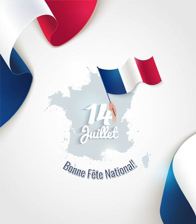 14 July Bastille day flyer, banner or poster. Silhouette of french map and waving french flags. Holiday and celebration concept. Vector illustration