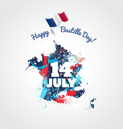 14 July Bastille day flyer, banner or poster. Colorful french map with paintink splatters and waving french flag. Holiday and celebration concept. Vector illustration Illustration