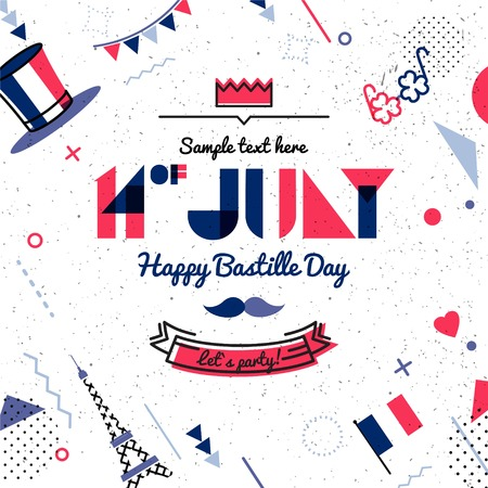 14 July Bastille day abstract background in 80s memphis style. Hipster bright color background. Vector illustration Illustration