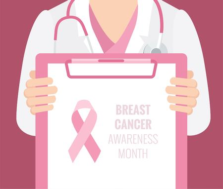 Close-up of a female doctor with lab coat in his office holding a clipboard. Breast Cancer Awareness  Background.Vector illustration