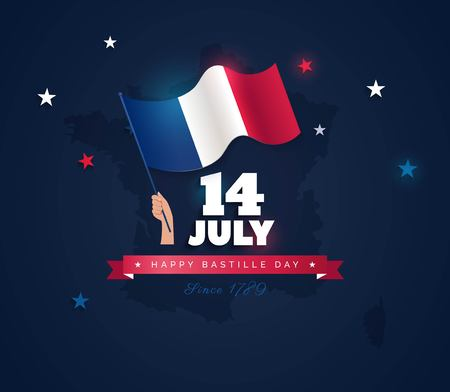 14 July Bastille day flyer, banner or poster. Holiday background with waving flag in man`s hand and map. Vector flat illustration Illustration