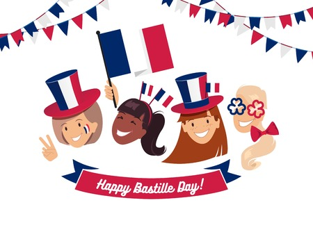 14 July Bastille day flyer, banner or poster. Group of happy girls with  different holiday symbols celebrating Bastille Day, smiling. Holiday and celebration concept. Vector illustration