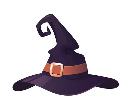 Vector illustration of a cartoon Halloween witch hat. Witch hat with buckle  isolated on white background. Design element for Halloween. Illustration