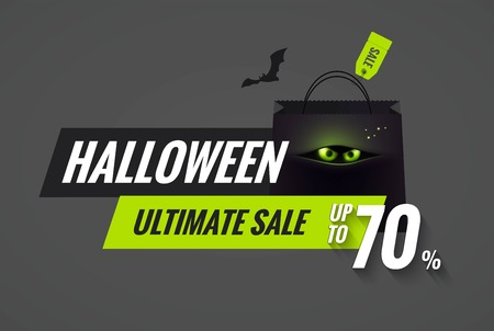 Halloween sale black and green  banner. Mobile banner for online shopping. Halloween poster designs with halloween symbols and text. Vector illustration.