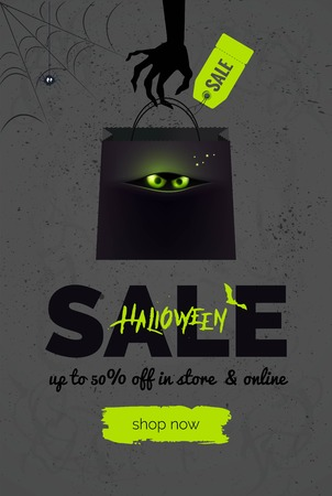 Halloween sale black and green  background. Halloween banner for online shopping. Halloween poster designs with halloween symbols and text. Vector illustration.