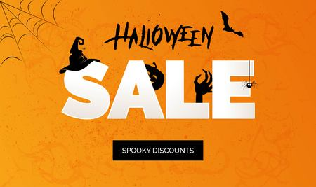 Halloween Sale vector banner with lettering and holiday symbols pumpkin, witch hat, zombie, spider and bat. Great for banner, voucher, offer, coupon, holiday sale. Çizim