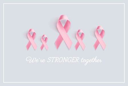 Breast Cancer Awareness Ribbon Background. We are stronger together slogan. Vector illustration Stock Vector - 84969800