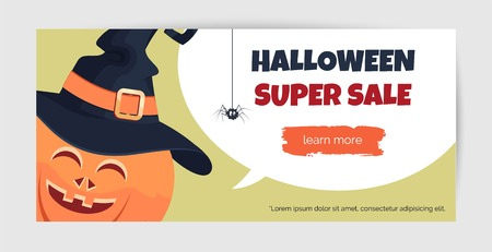 Halloween super sale offer design template. Halioween background with holiday symbols and speech bubble. Vector illustration. Vector Illustration