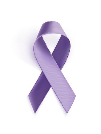 Awareness purple ribbon. Realistic purple ribbon, epilepsy awareness symbol, isolated on white background. Vector illustration Illustration