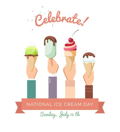 Ice-cream in hands. Human hands holding a waffle cups , filled with  ice cream. Happy national ice cream day. Vector flat illustration