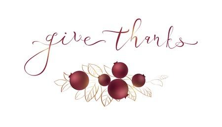 Woorden geven dank - Thanksgiving-concept. Kaart voor Thanksgiving Day op witte achtergrond met cranberry en bladeren. Vector illustratie