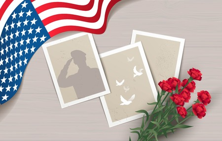 memory card: Happy Memorial Day  flyer, banner or poster. Holiday background with waving flag, photos and flowers. Vector illustration