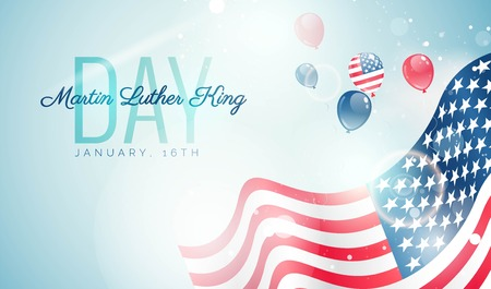 Martin Luther King Day flyer, banner or poster. Holiday background with waving flag, flying balloons and text,Vector illustration Vektorové ilustrace