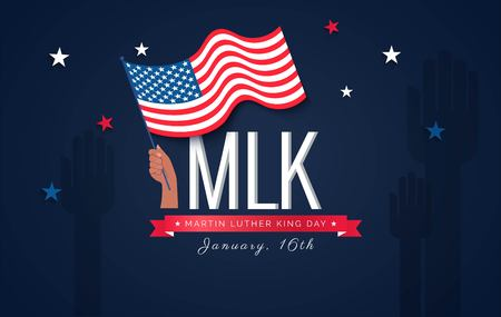 Martin Luther King Day flyer, banner or poster. Holiday background with waving flag in man`s hand. Vector flat illustration