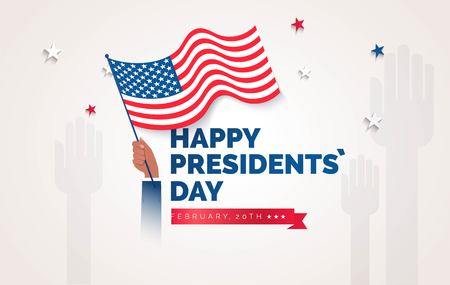 Happy Presidents` Day  flyer, banner or poster. Holiday background with waving flag in man`s hand. Vector flat illustration Illustration