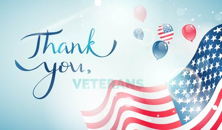 Happy Veteran Day flyer, banner or poster. Holiday background with waving flag, flying balloons and text Thank you, Veterans. Vector illustration Illustration