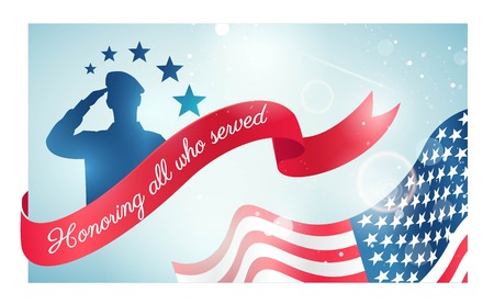 Happy Veteran Day flyer, banner or poster. Holiday background with waving flag, soldier silhouette and curving ribbon. Thank you, Veterans. Vector illustration Çizim