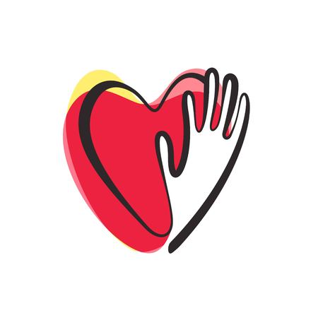 Vector hand with heart logo design, sign, icon, logo template for charity, health, voluntary, non profit organization, isolated on white background, Vector illustration