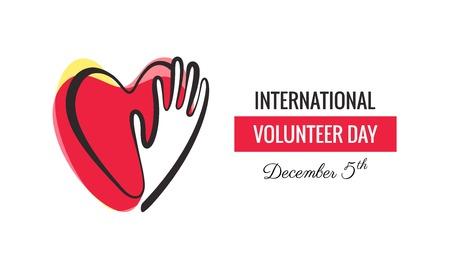 voluntary: 5 December. International volunteer day background. Hands and hearts design. Vector illustration