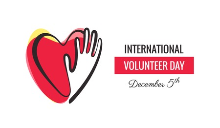 5 December. International volunteer day background. Hands and hearts design. Vector illustration