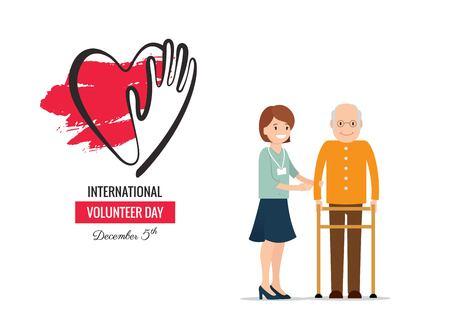 5 December. International volunteer day background. Young volunteer woman helping caring for elderly man.  Vector flat  illustration